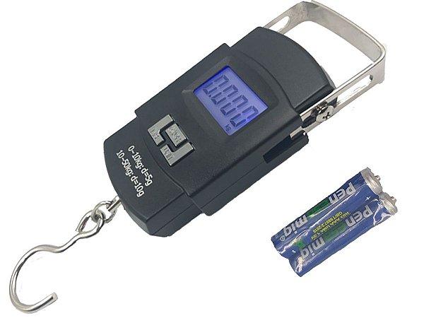 Balança Portátil Digital Mão Bolsa Mala Peixe Até 50kg