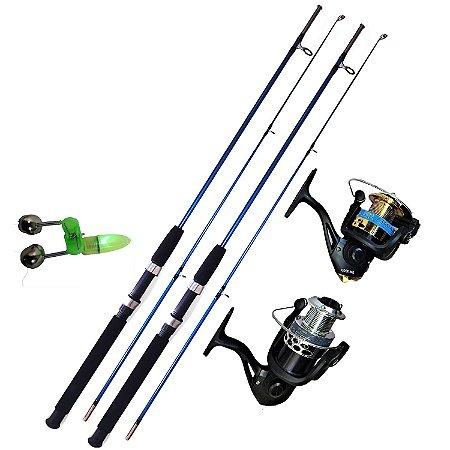 2 Varas de Pesca 40 Lbs 1,80m Molinete 10 Rolamentos Tilapia