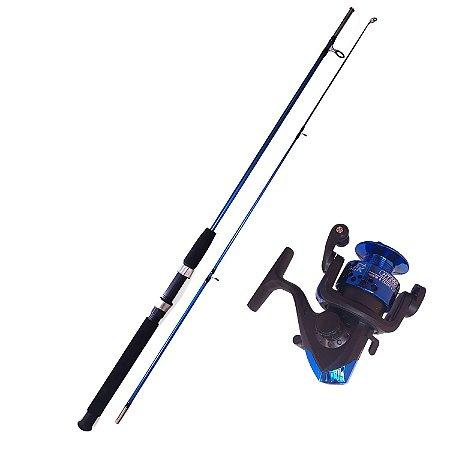 Kit Pesca 1 Vara 1,20 Mts Maciça + 1 Molinete 2 Rol 100m Linha