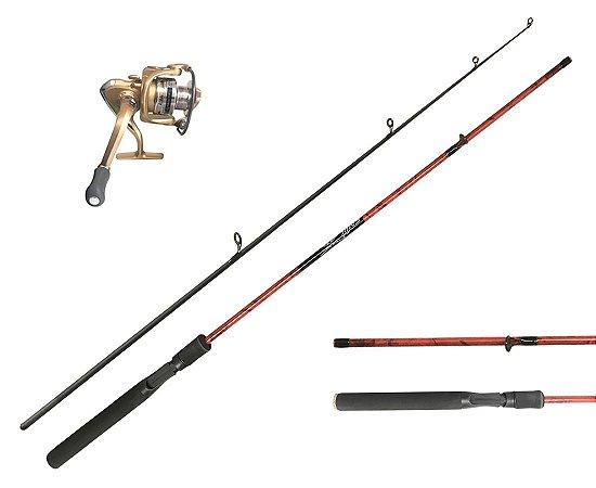 Kit pesca Vara 1,8m 100% Carbono Ultra Leve+ Molinete 10 Rol