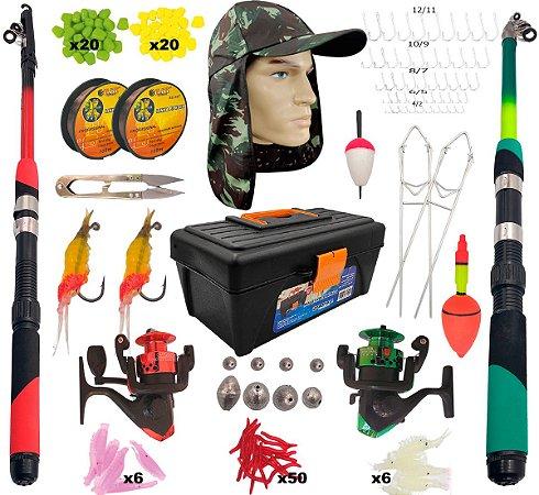 Kit Tilápia Pesca Completa c/ Maleta 175 item Piau Pesqueiro