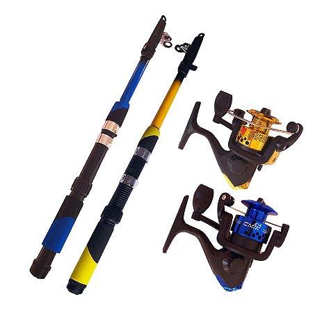 Kit Pesca Tilápia 2 Vara 1,60m + 2 Molinete 2 Rol 12 LBS