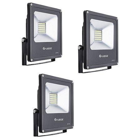COMBO 3 REFLETORES DE LED 20W BIVOLT PRETO LIEGE 497916