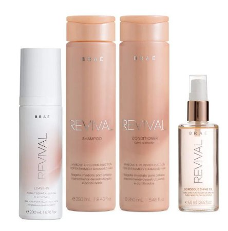Braé Revival - Kit Home Care Shampoo Condicionador Leave-in e Sérum