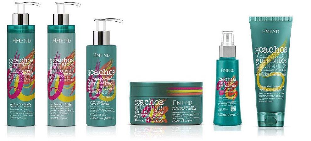 Amend Cachos - Kit Completo Shampoo Condicionador Máscara Leave-in Cachos Abertos Ativador de Cachos e Óleo Umectante
