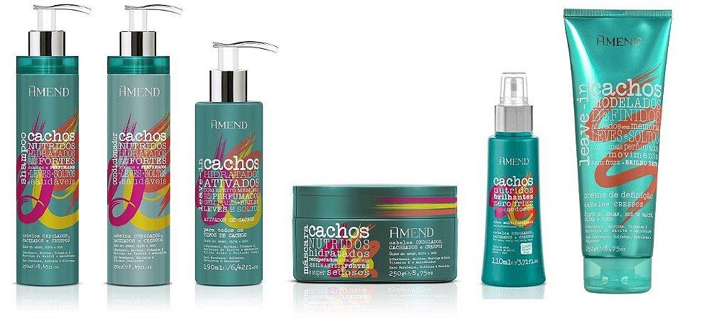 Amend Cachos - Kit Completo Shampoo Condicionador Máscara Leave-in Cabelos Crespos Ativador de Cachos e Óleo Umectante