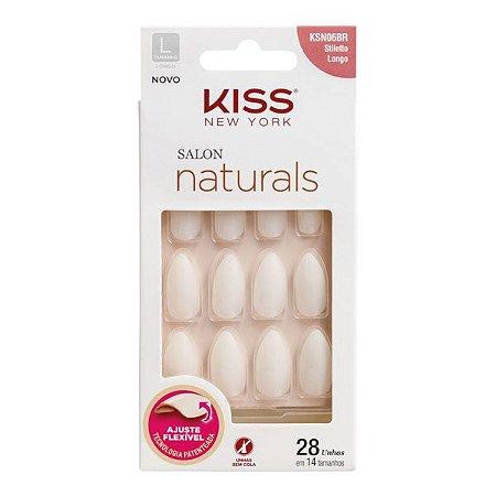 Kiss Unhas Postiças Salon Naturals Stiletto Longo
