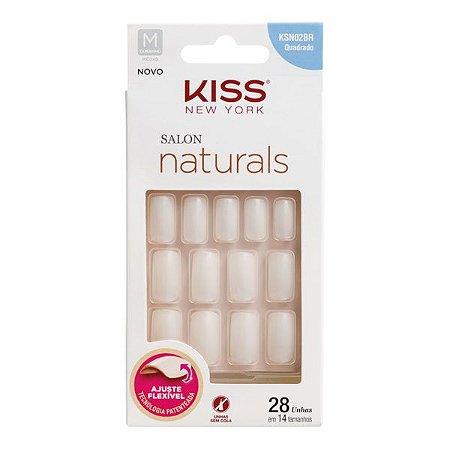 Kiss Unhas Postiças Salon Naturals Quadrado Médio