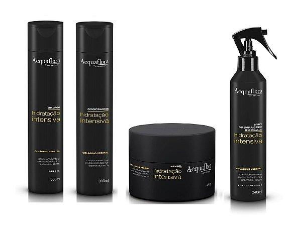 Acquaflora Hidratação Intensiva - Kit Shampoo Condicionador Máscara e Spray Desembaraçante