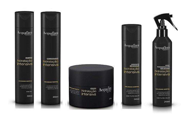 Acquaflora Hidratação Intensiva - Kit Shampoo Condicionador Máscara Hidratante sem Enxágue e Spray Desembaraçante