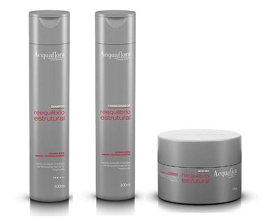 Acquaflora Reequilibrio Estrutural - Kit Shampoo Condicionador e Máscara