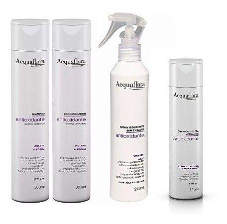 Acquaflora  Antioxidante Cabelos Normais - Kit Shampoo Condicionador Spray e Shampoo Matizador