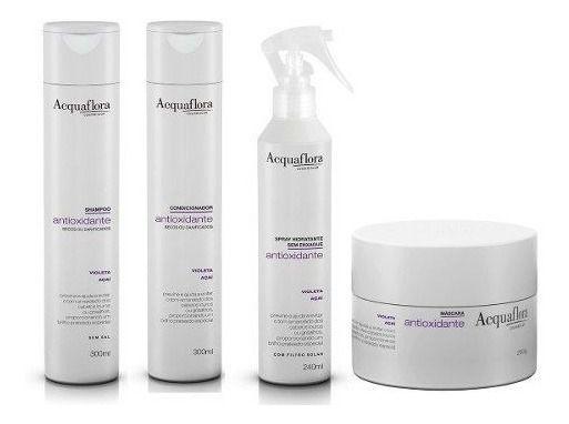 Acquaflora Antioxidante Cabelos Secos - Kit Shampoo Condicionador Spray e Máscara