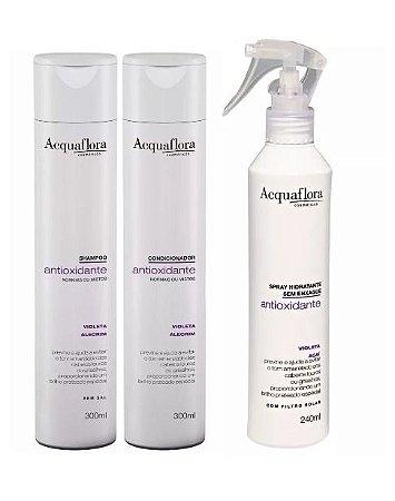 Acquaflora Antioxidante Cabelos Normais - Kit Shampoo Condicionador e Spray