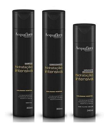 Acquaflora Hidratação Intensiva - Kit Shampoo Condicionador e Hidratante sem Enxágue