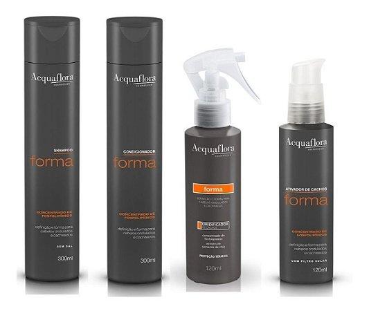 Acquaflora Forma - Kit  Shampoo Condicionador Ativador de Cachos e Umidificador de Cachos