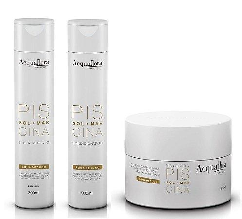 Acquaflora Piscina - Kit Shampoo Condicionador e Máscara