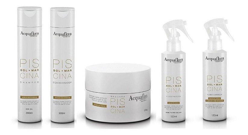 Acquaflora Piscina - Kit Shampoo Condicionador Máscara Fluido Iluminador e Fluido Protetor