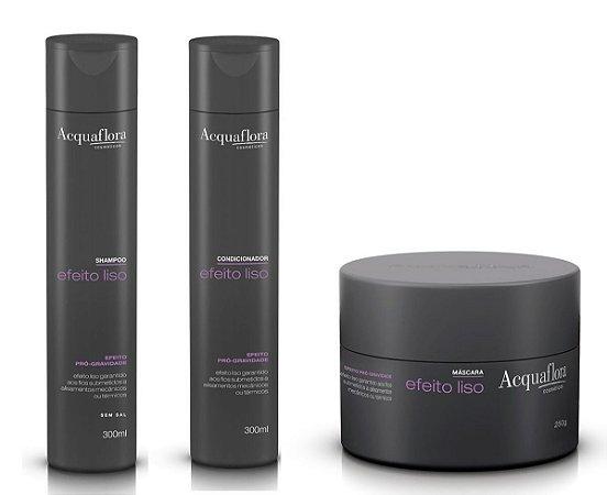 Acquaflora Efeito Liso - Kit  Shampoo Condicionador e Máscara