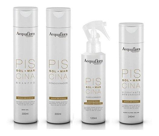 Acquaflora Piscina - Kit Shampoo Condicionador Hidratante sem Enxágue e Fluído Protetor