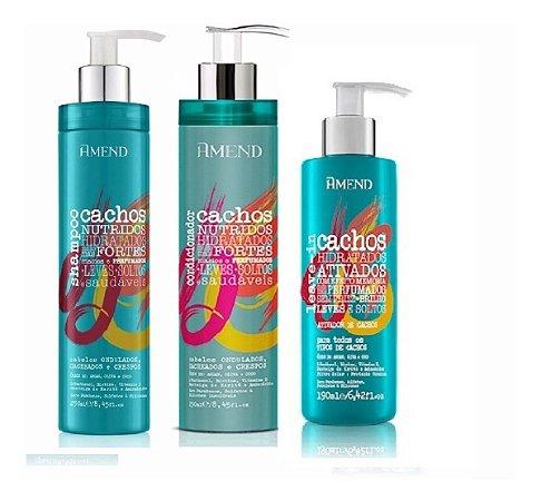 Amend Cachos - Kit Shampoo Condicionador e Ativador De Cachos