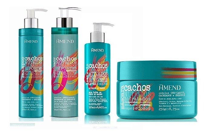 Amend Cachos - Kit Shampoo Condicionador Ativador de Cachos e Máscara