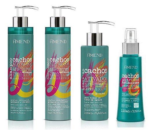 Amend Cachos - Kit Shampoo Condicionador Ativador de Cachos e Óleo de Cachos