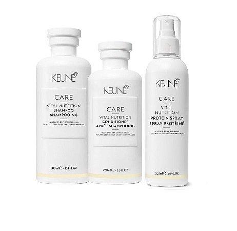 Keune Vital Nutrition - Kit  Shampoo Condicionador e Protein Spray
