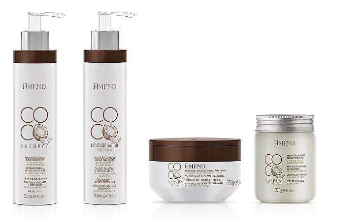 Amend Coco - Kit Shampoo Condicionador Máscara e Óleo Vegetal