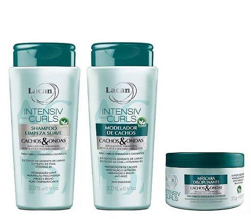 Lacan Intensiv Curls - Kit Shampoo Máscara e Modelador de Cachos