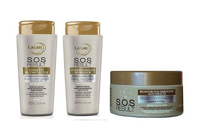 Lacan SOS Result - Kit Shampoo Condicionador e Máscara