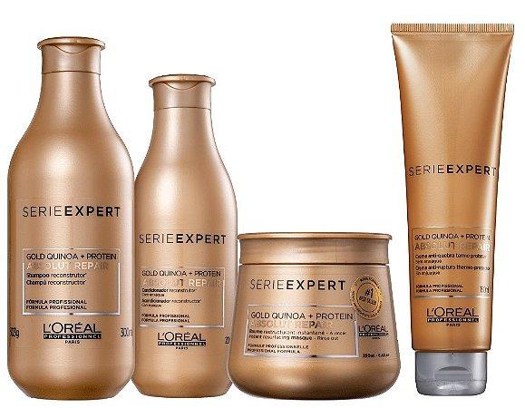 Loreal Serie Expert Absolut Repair Gold Quinoa - Kit Shampoo Condicionador Máscara e Creme de Pentear Termoprotetor