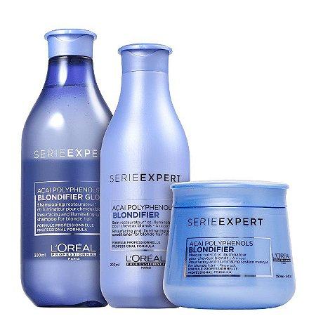 Loreal Serie Expert Blondifier Gloss - Kit  Shampoo Condicionador e Máscara