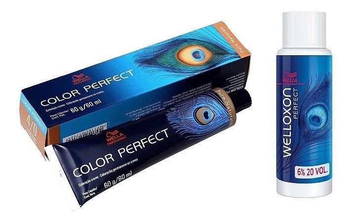 Wella Color Perfect Tinta 4/0 Castanho Médio + Welloxon 20vol
