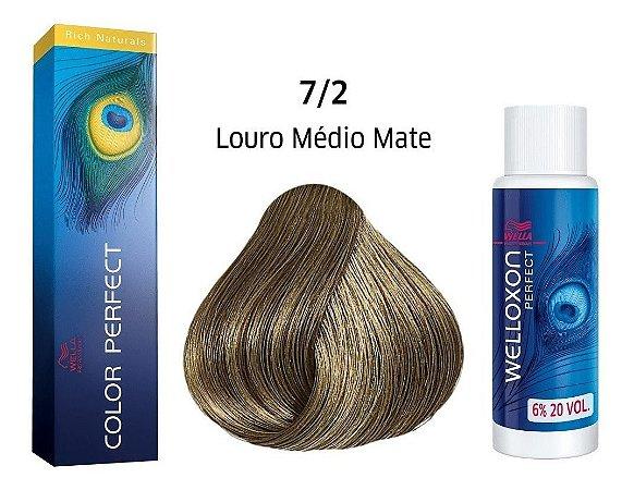 Wella Color Perfect Tinta 7/2 Louro Médio Matte + Welloxon 20vol