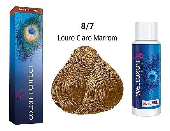Wella Color Perfect Tinta 8/7 Louro Claro Marrom + Welloxon 20vol
