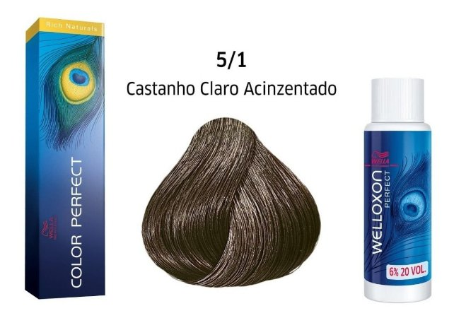 Wella Color Perfect Tinta 5/1 Castanho Claro Acinzentado + Welloxon 20vol