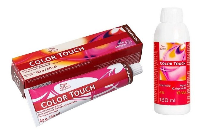 Wella Color Touch Tonalizante 7/73 Louro Médio Marrom Dourado + Emulsão 13vol
