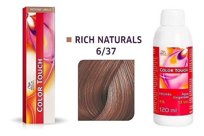Wella Color Touch Tonalizante 6/37 Louro Escuro Dourado Marrom + Emulsão 13vol