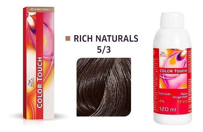 Wella Color Touch Tonalizante 5/3 Castanho Claro Dourado + Emulsão 13vol