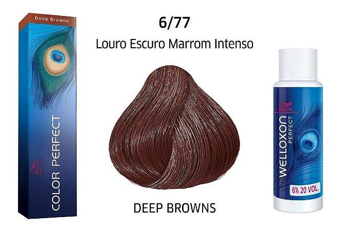 Wella Color Perfect Tinta 6/77 Louro Escuro Marrom Intenso + Welloxon 20vol