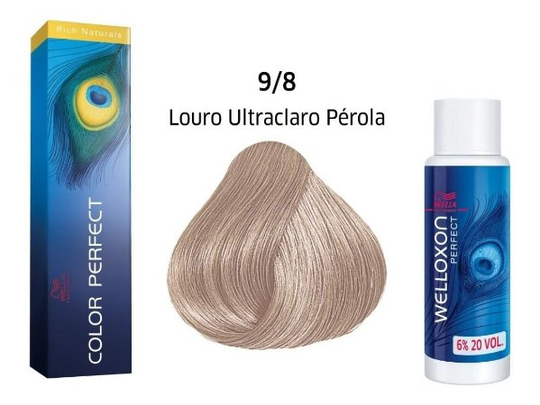 Wella Color Perfect Tinta 9/8 Louto Ultraclaro Pérola + Welloxon 20vol