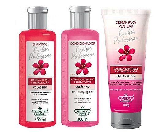 Flores e Vegetais Cachos Poderosos - Kit Shampoo Condicionador e Creme de Pentear
