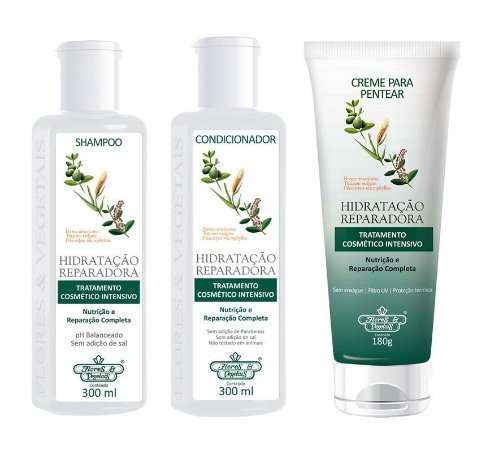 Flores e Vegetais Hidratação Reparadora - Kit Shampoo Condicionador e Creme de Pentear