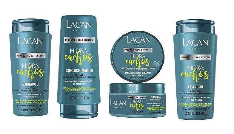 Lacan Hidra Cachos Kit Shampoo Condicionador Masc e Leave-in