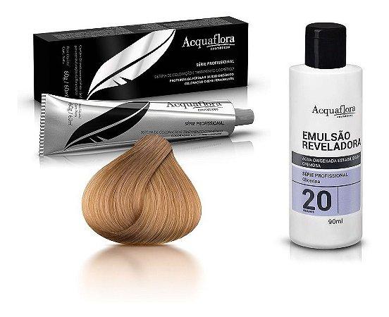 Acquaflora Kit Coloração 8.0 Louro Claro + Emulsão 20vol