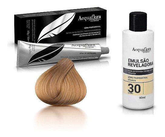 Acquaflora Kit Coloração 8.0 Louro Claro + Emulsão 30vol