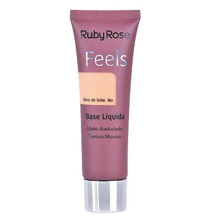 Ruby Rose Base Líquida Feels - Cor Doce de Leite 80