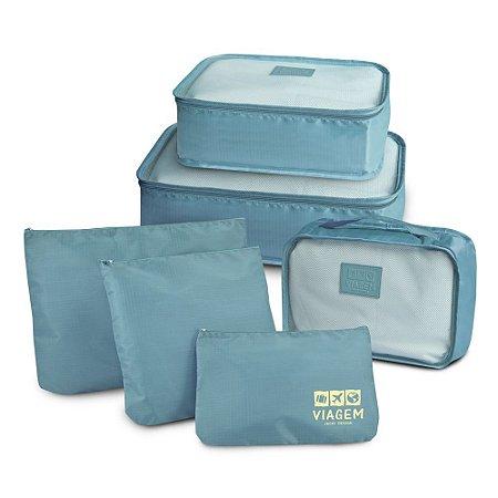 Jacki Design Kit Organizador de Mala Com 6 Peças - Azul Claro
