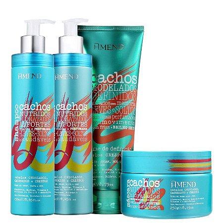 Amend Cachos - Kit Shampoo Condicionador Máscara e Leave-in Cabelos Crespos